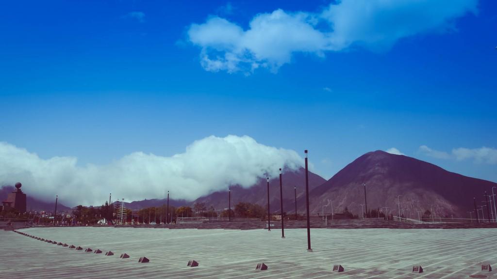 Mitad del Mundo hills and sky