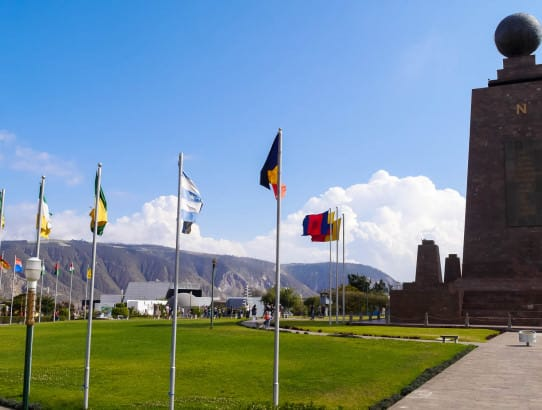 Mitad del Mundo memorial flags