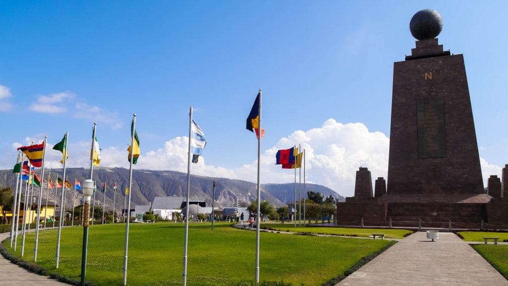 Mitad del Mundo memorial flags