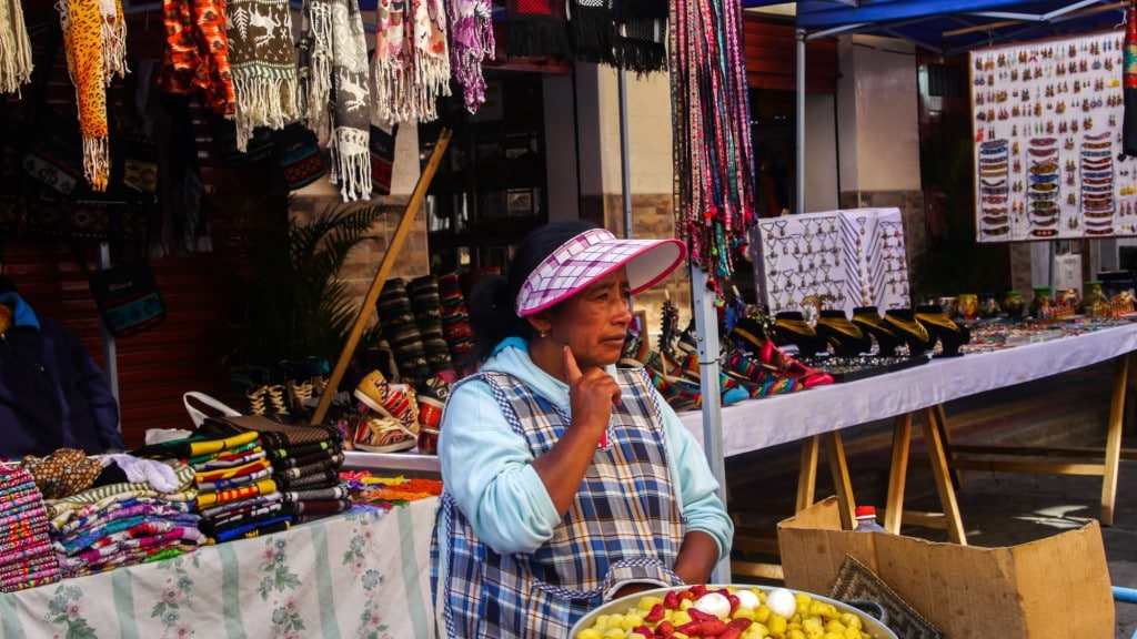Otavalo woman selling food